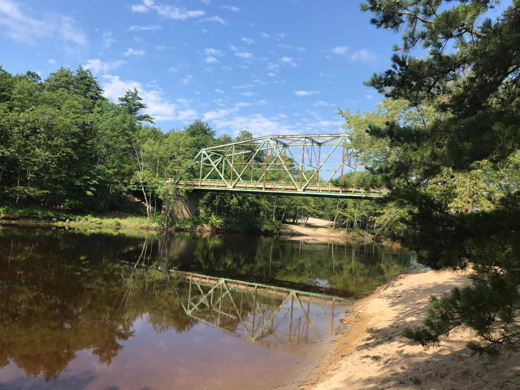 Brownfield Bridge over the Saco River. Photo by Rachael Mocek at https://restlesslensphoto.com/