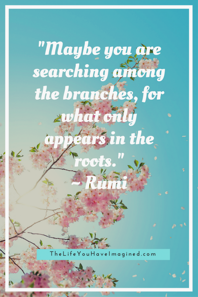"""Maybe you are searching among the branches, for what only appears in the roots."" Rumi: Wise Words of a 13th Century Poet - from The Life You Have Imagined"
